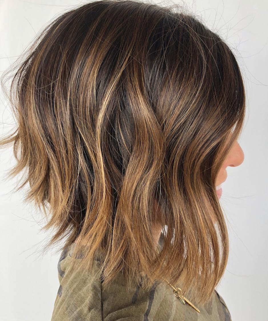 Shorter Dark Hair With Caramel Highlights