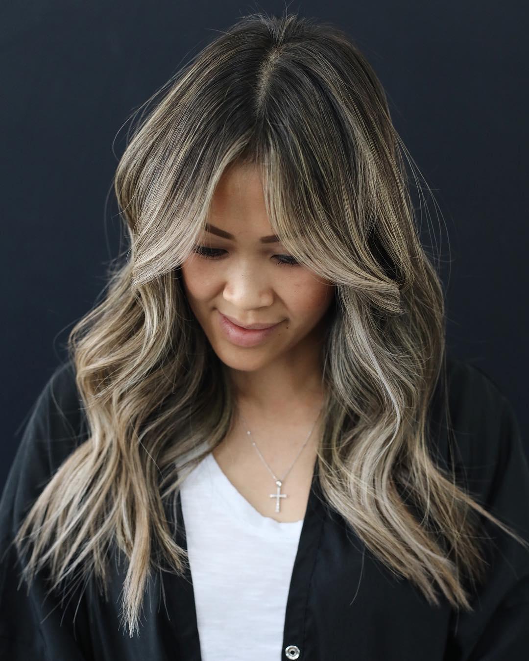 Brown Hair With Platinum Blonde Balayage