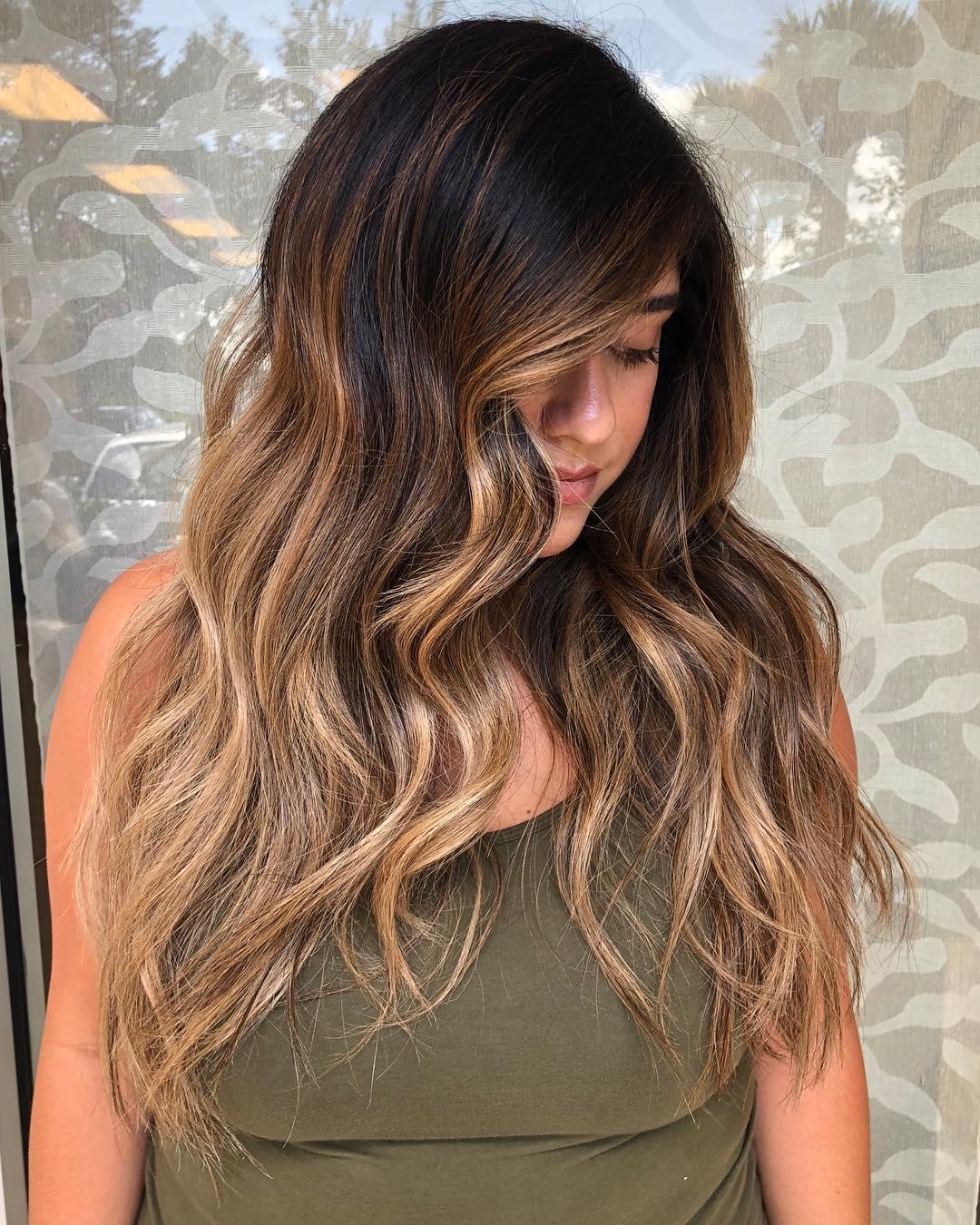 Dark Hair With Honey Blonde Balayage