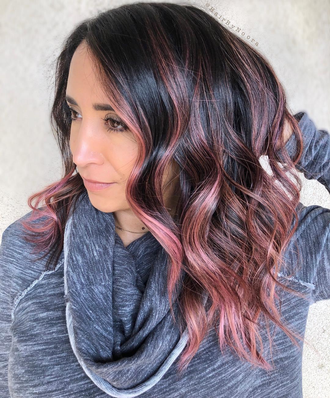 Dark Chocolate Hair With Pink Highlights