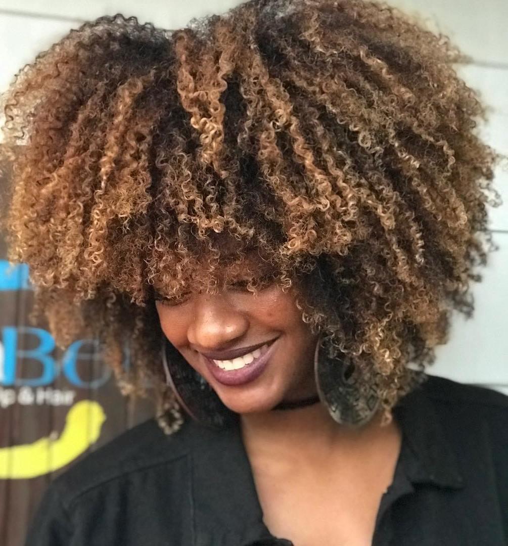 Medium Natural Curly Hair With Balayage