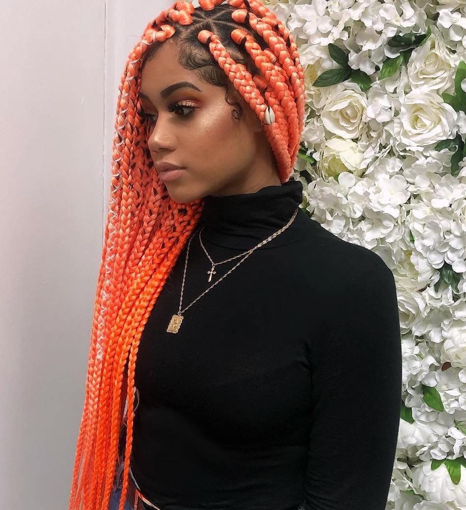 Long Orange Box Braids
