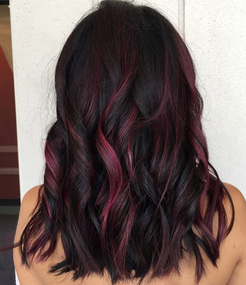 Black Hair With Pink And Purple Highlights