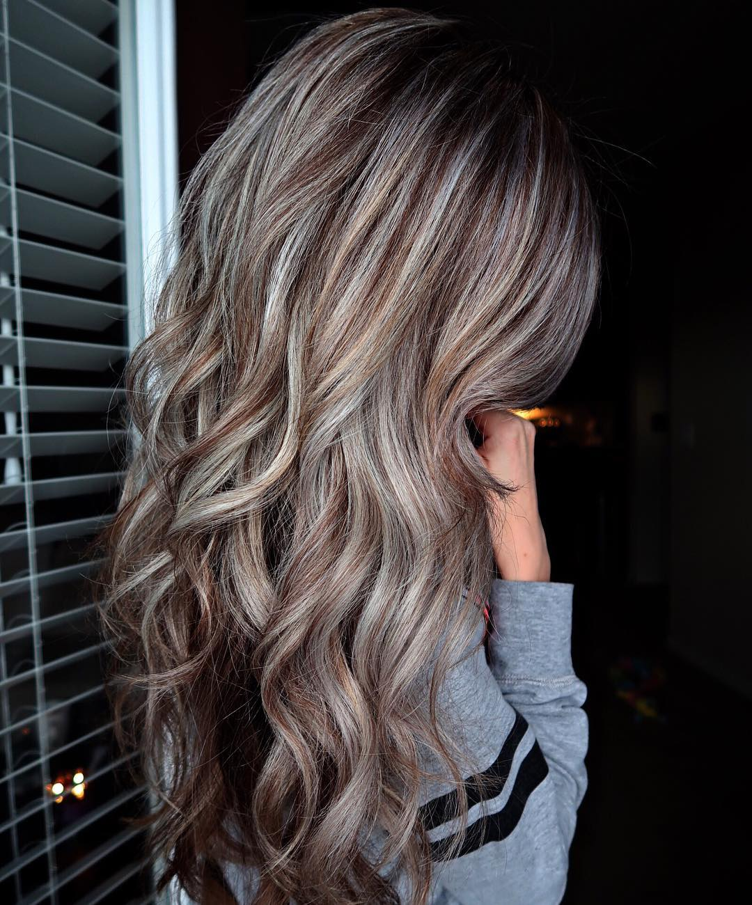 Long Silver Hair With Brown Highlights
