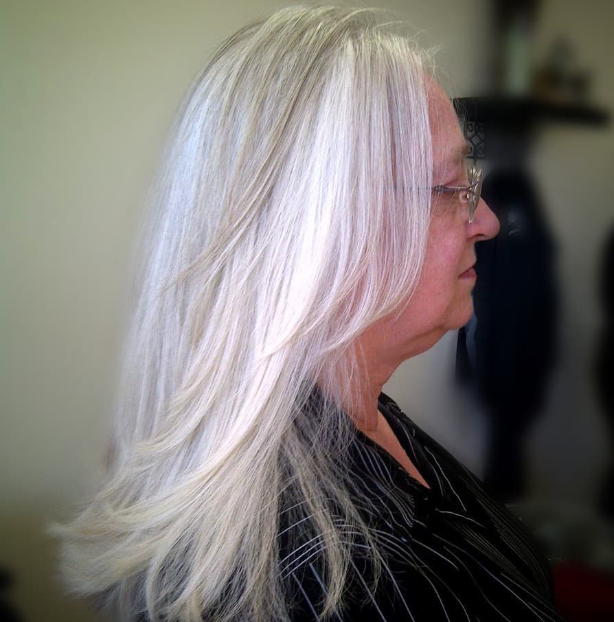 Beautiful Long Silver Hairstyle Over 50