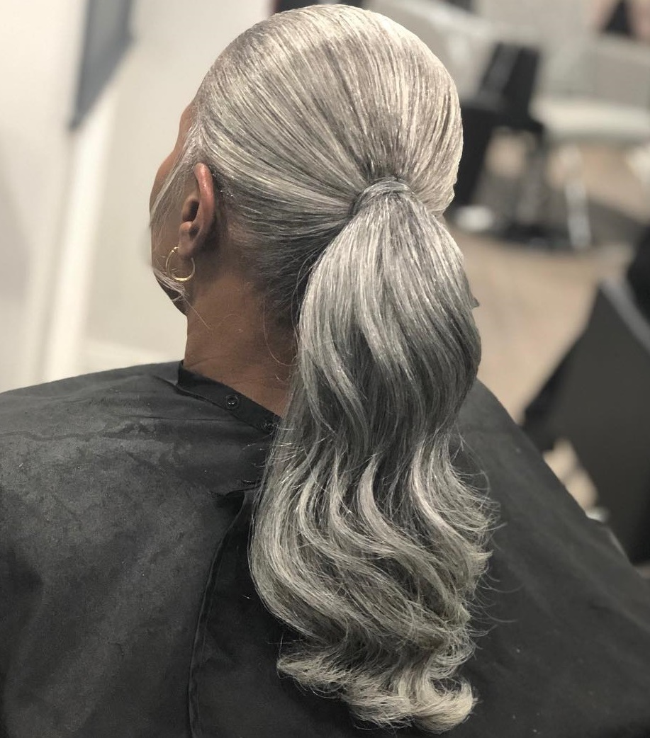 Polished Silver Gray Ponytail