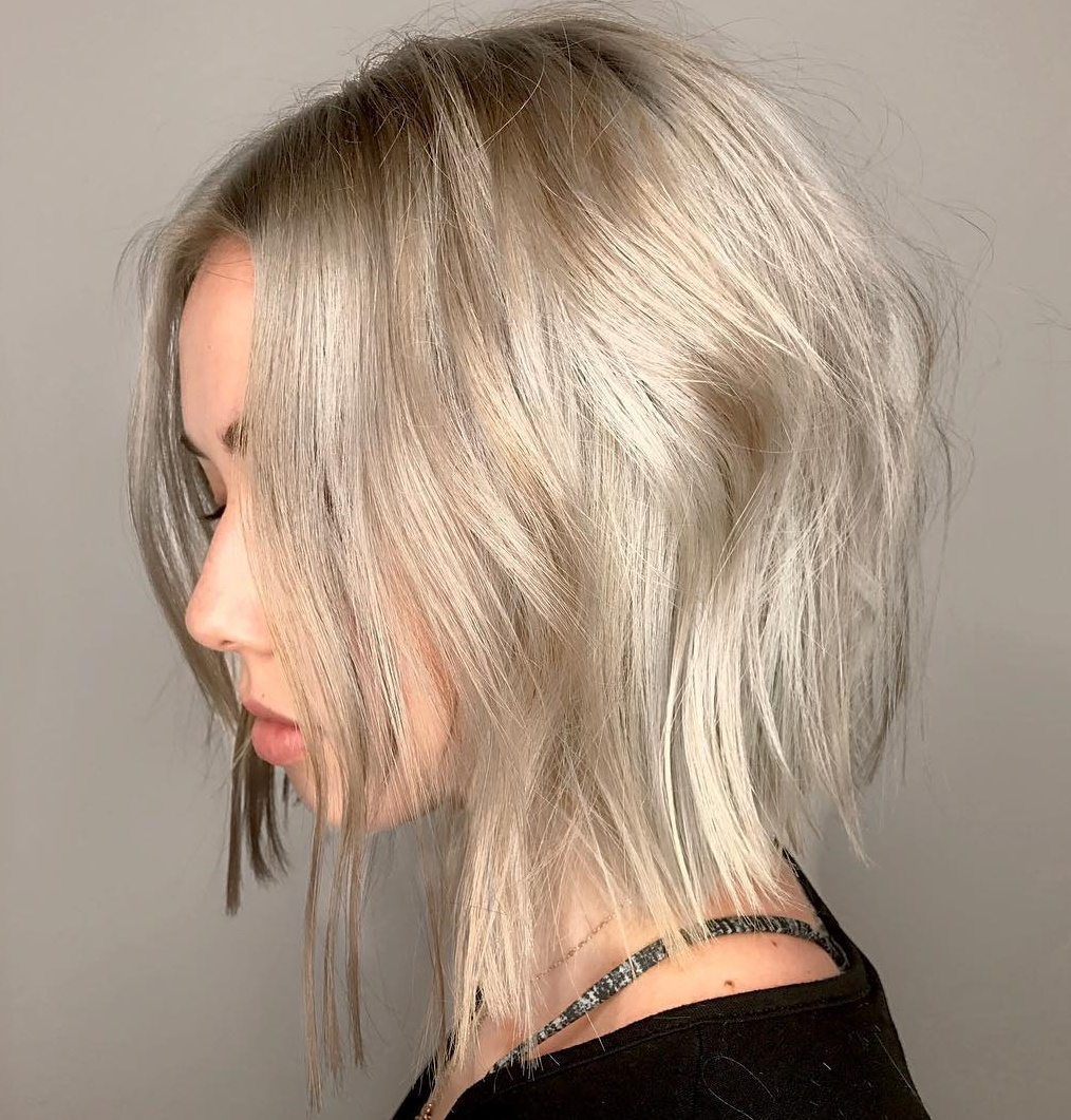 Longer Platinum Bob With Shadow Roots