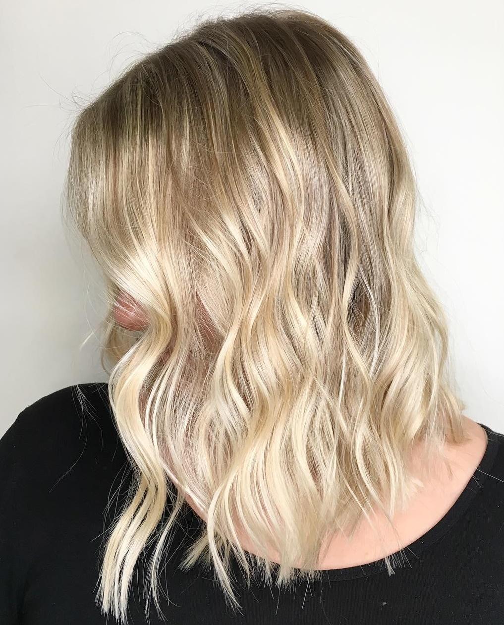 Shiny Blonde Wavy Lob
