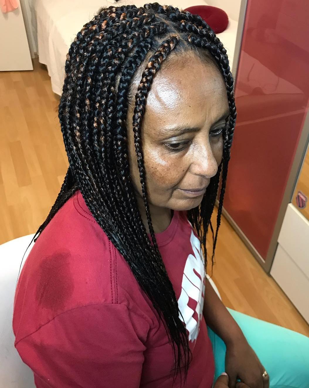 Popular Black Braided Hairstyle For Older Women