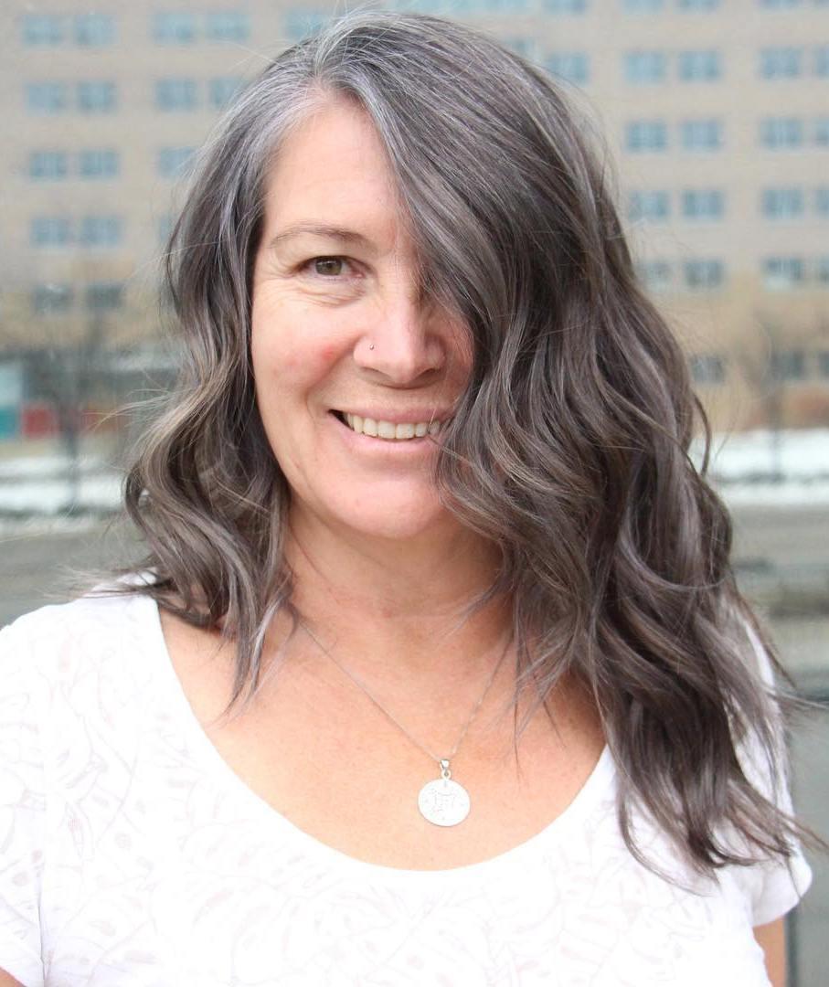 Long Layered Gray Brown Haircut