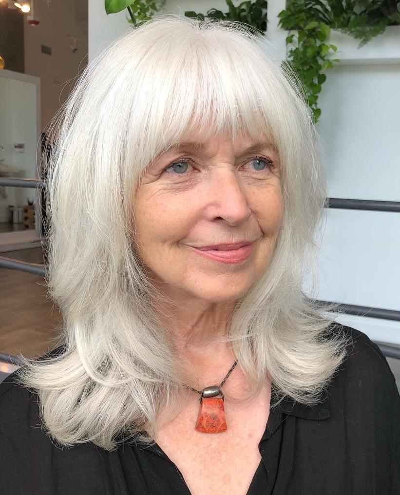 Sophisticated Longer Silver Hairdo