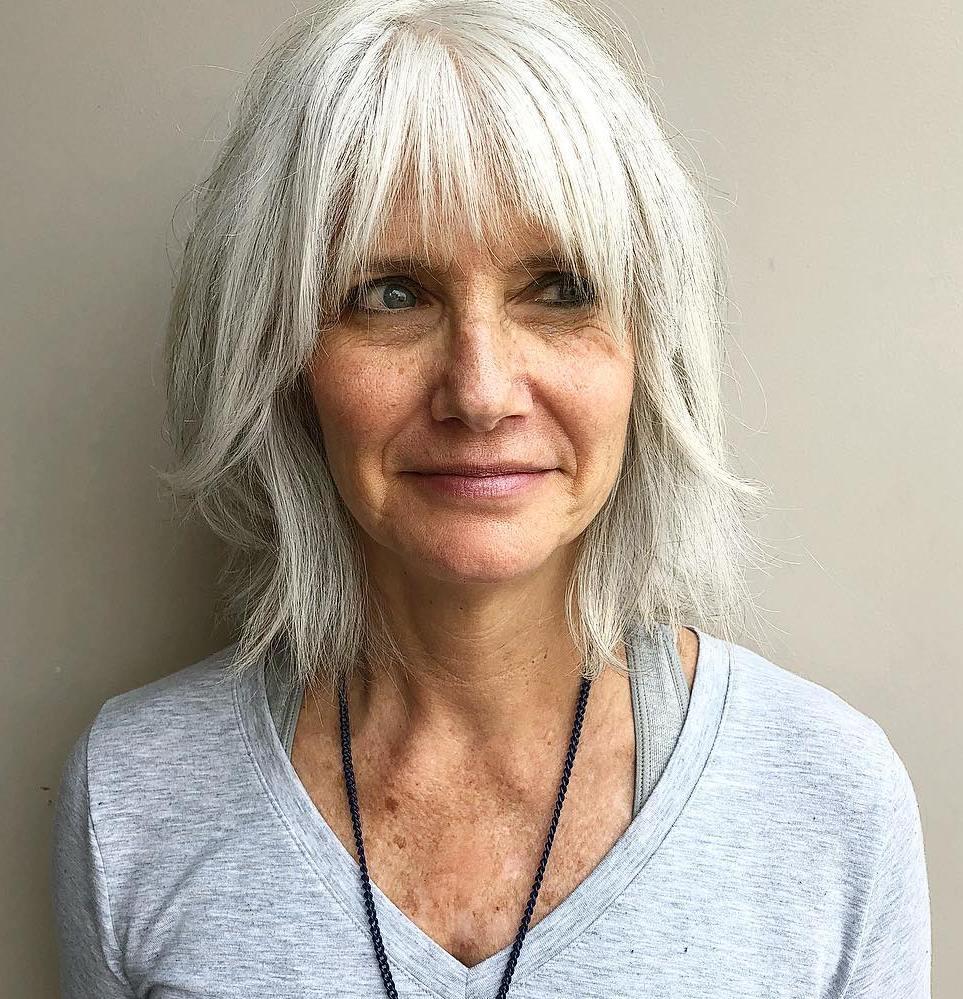 White Blonde Shaggy Bob For Older Women