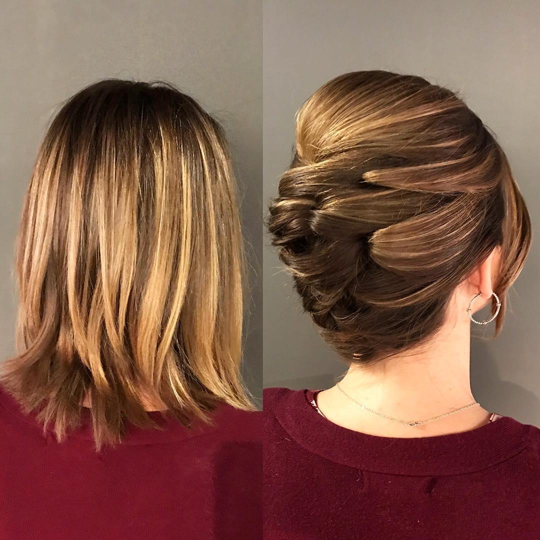 Elegant Bouffant Updo For Shorter Hair