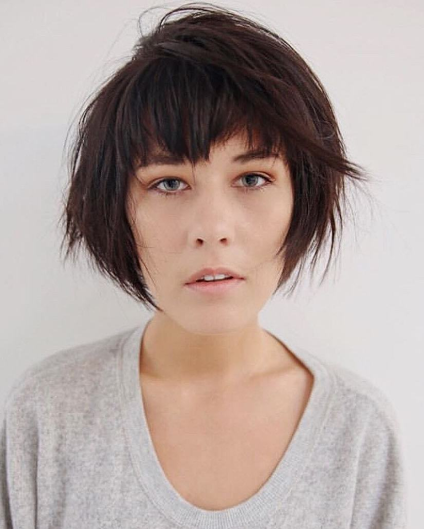 Short Shaggy Bob With Bangs For Long Faces