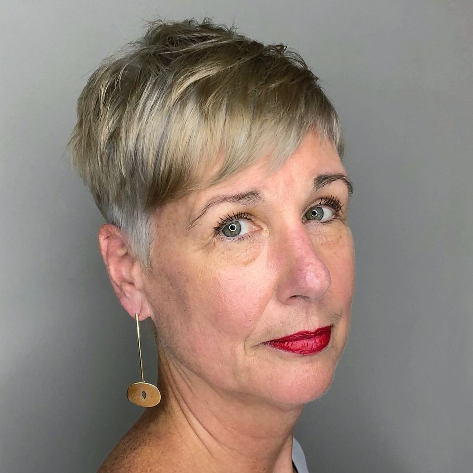 Short Cool Blonde Pixie For Long Face