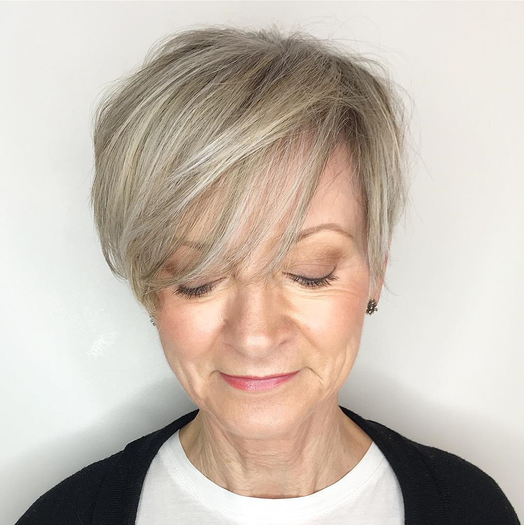 Gray Blonde Pixie With Wispy Bangs