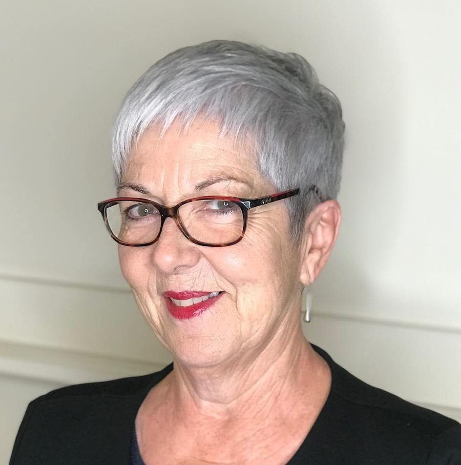 Very Short Gray Cut For Older Ladies