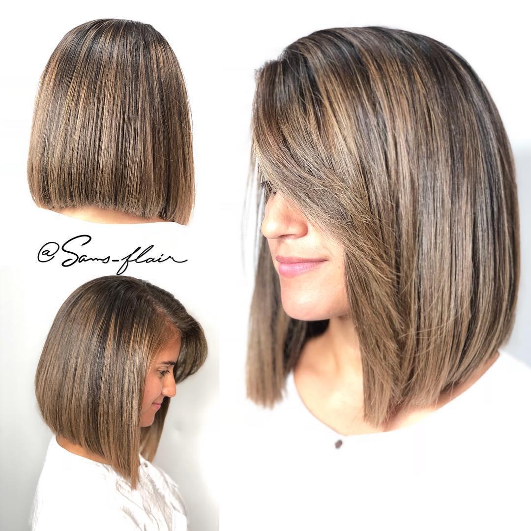 Sleek Brown Balayage Lob For Thick Hair