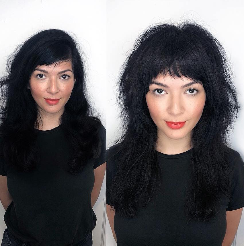 Black Razored Shag For Long Hair
