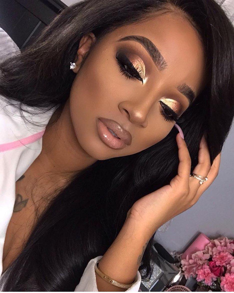 prom makeup for dark skin look