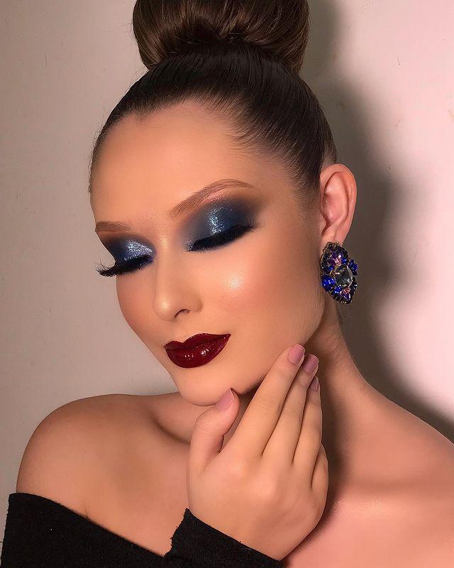 blue wedding makeup