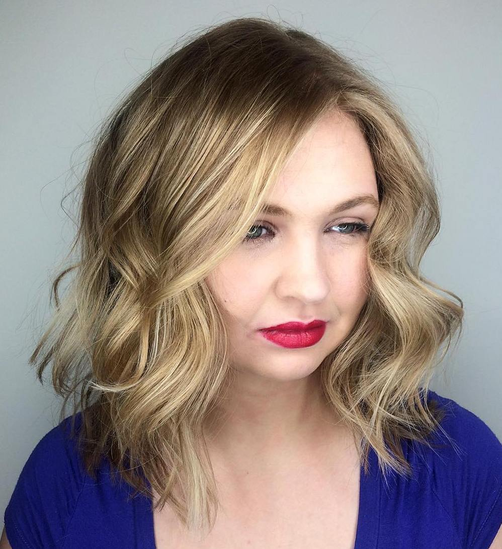 Long Bob With Balayage For Round Faces
