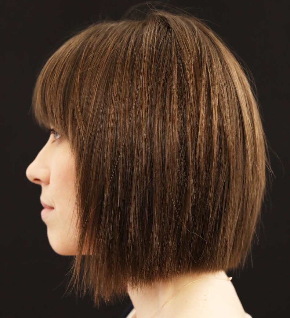 Straight Textured Bob With Bangs