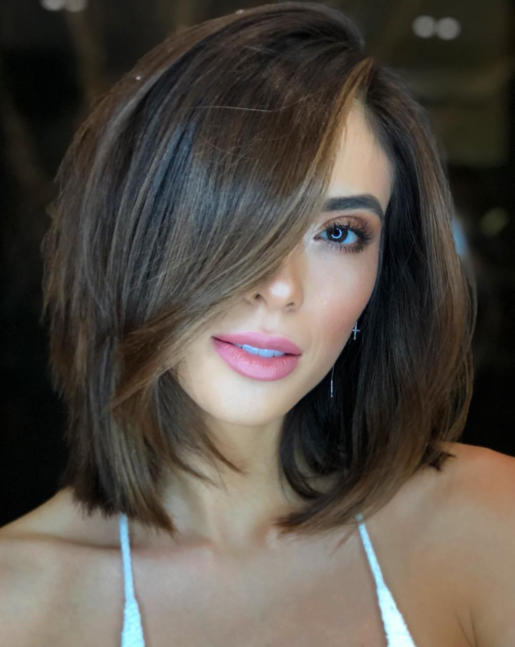 Lob With A Feathered Fringe For Thick Hair