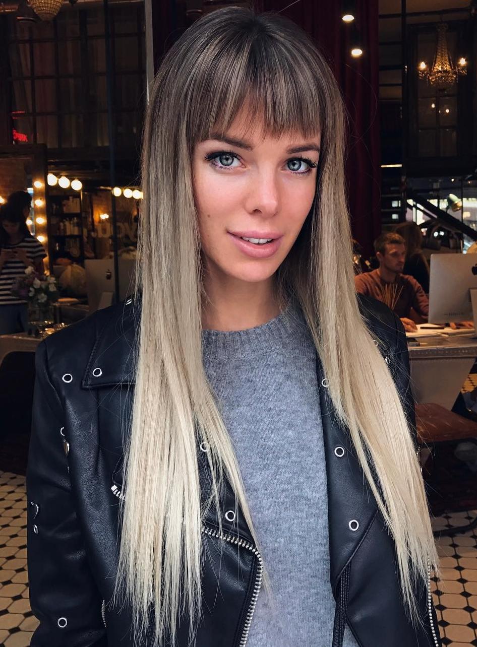 Short Point-Cut Bangs For Long Straight Hair