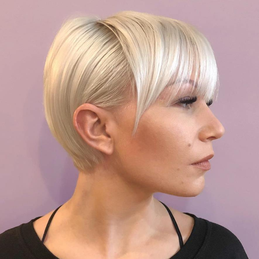 Polished Blonde Pixie With Bangs