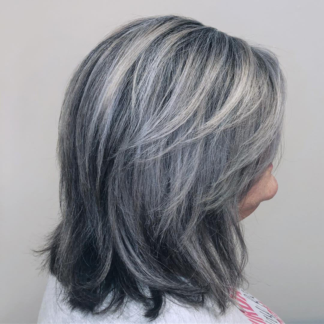 Over Medium Gray Hair With Layers