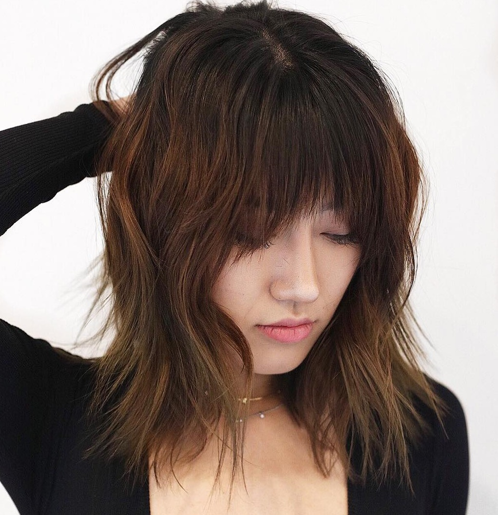 Razored Brunette Lob With Bangs
