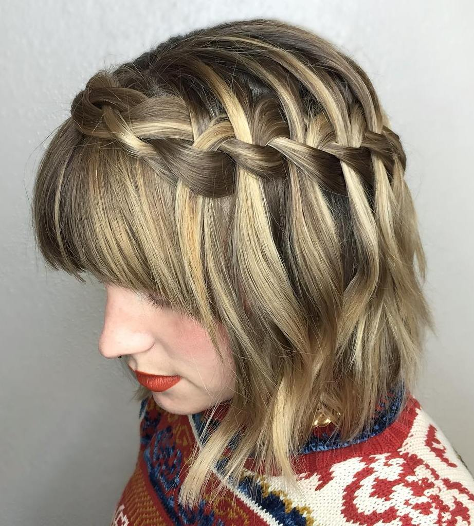 Bob With Crown Braid And Bangs