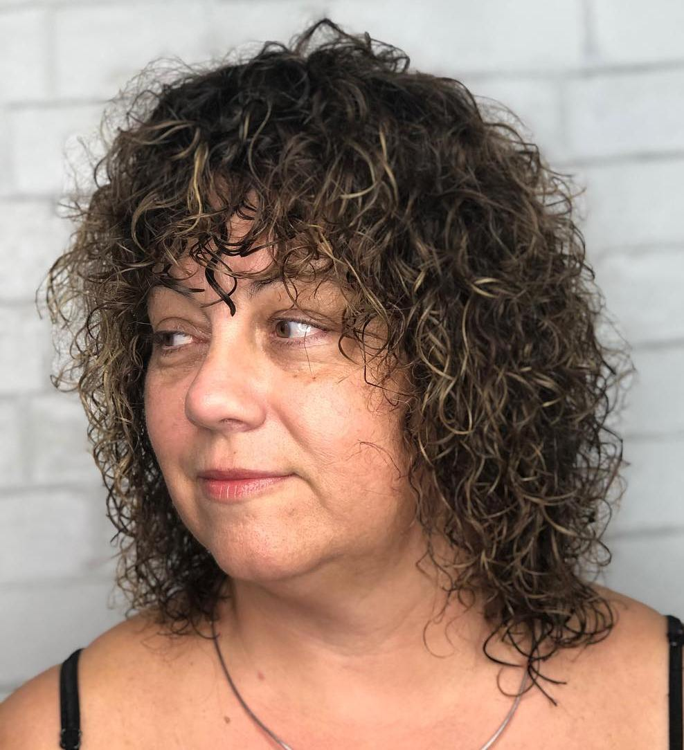 Medium Perm With Bangs For Mature Women