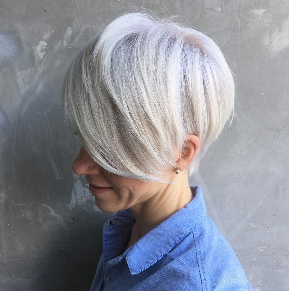 Gray Pixie With Long Bangs