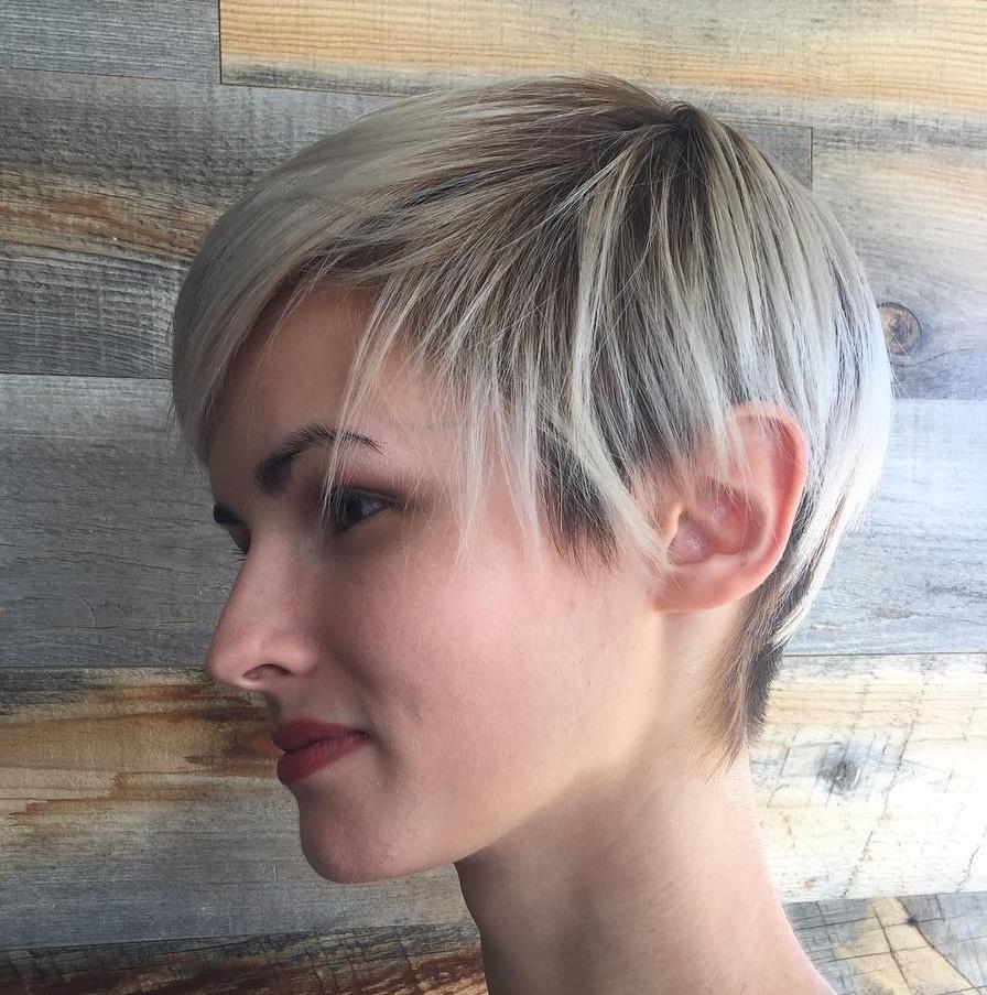 Sleek Blonde Balayage Pixie For Thin Hair