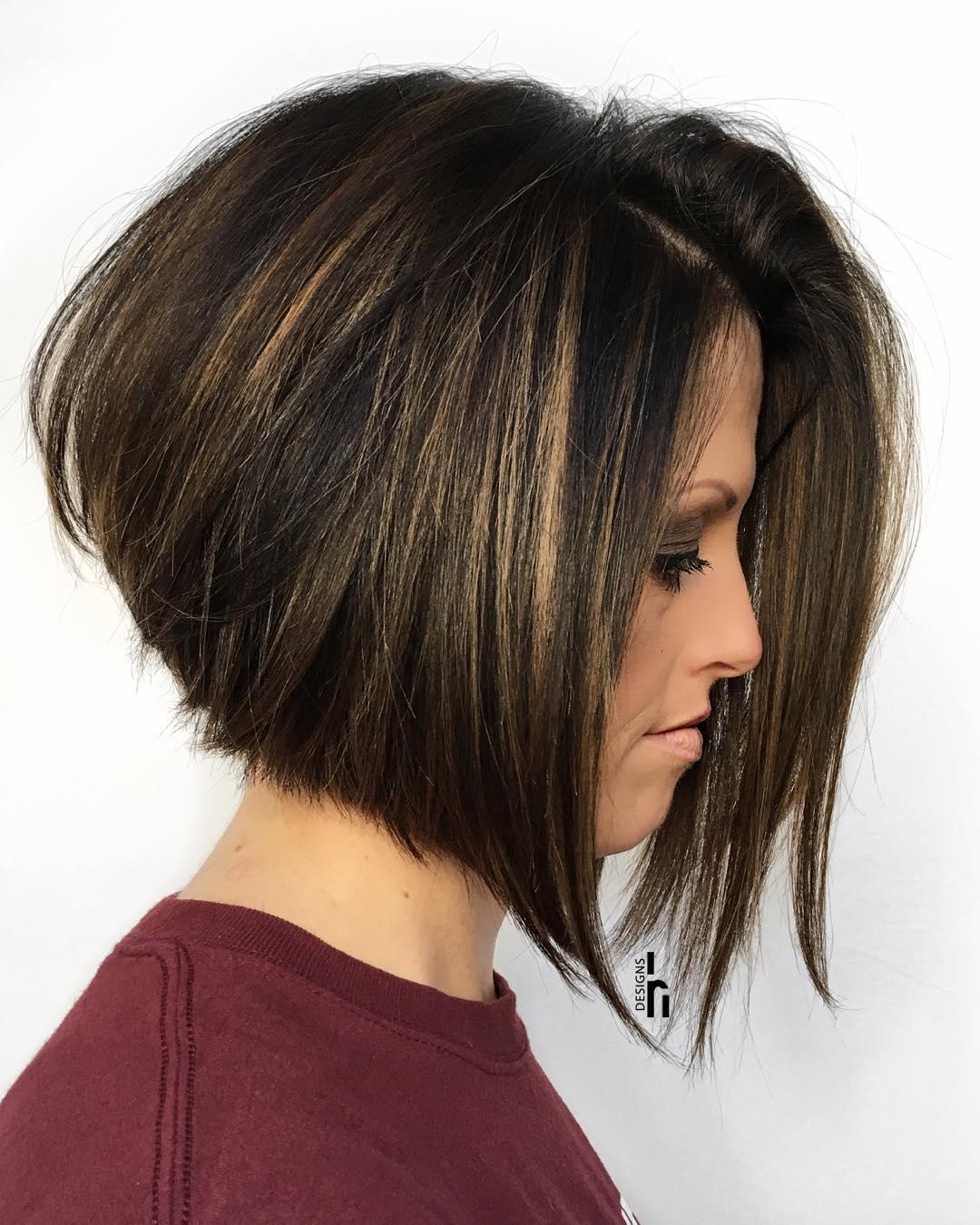Angled Brunette Bob For Thick Hair