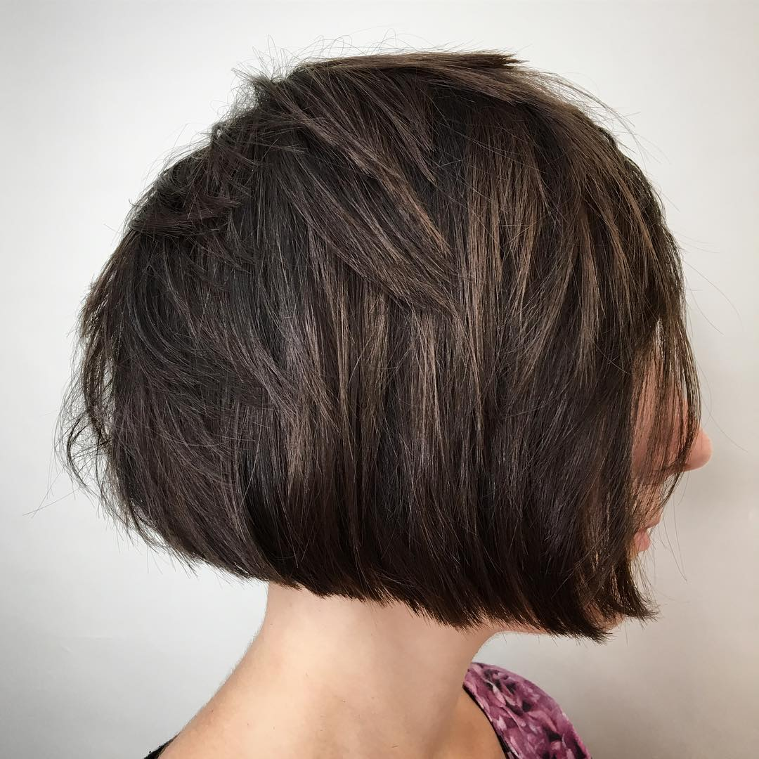 Blunt Bob With Choppy Layers For Thick Hair