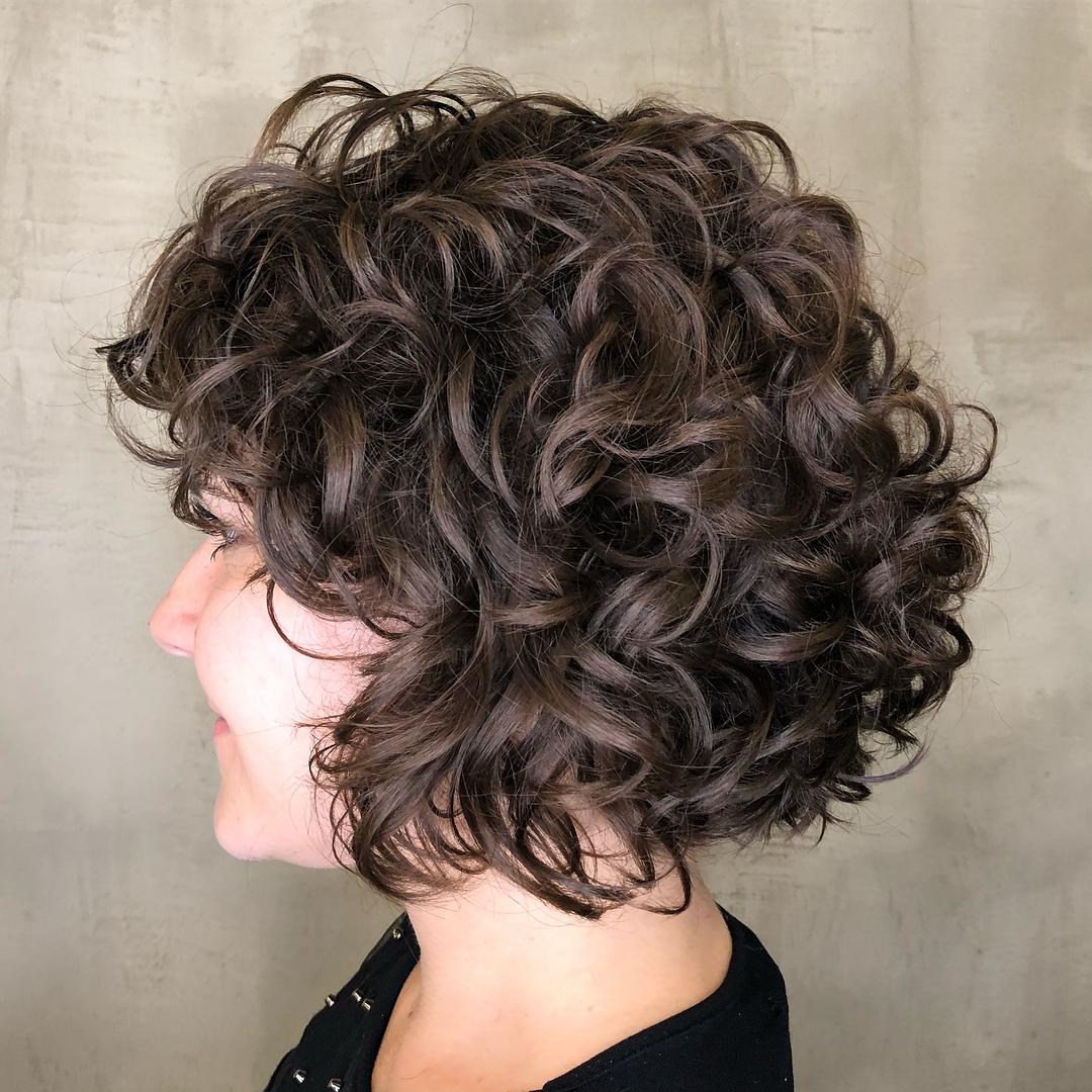 Curly Layered Bob Cut