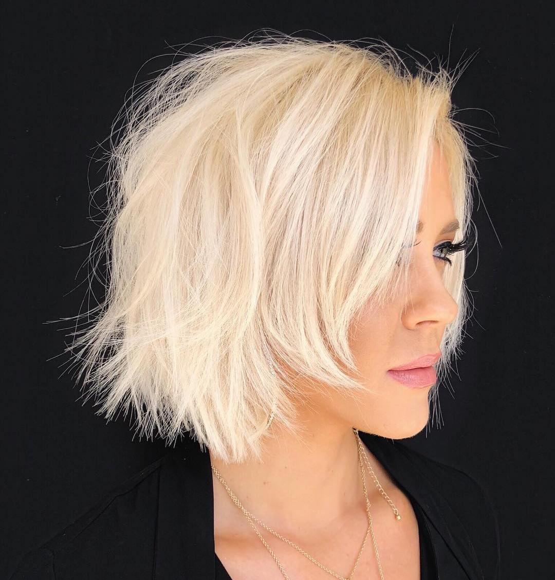 Chin-Length Razored Blonde Bob