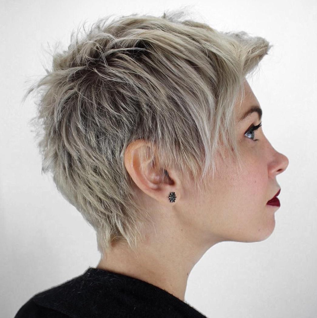 Spiky Blonde Pixie With Dark Roots