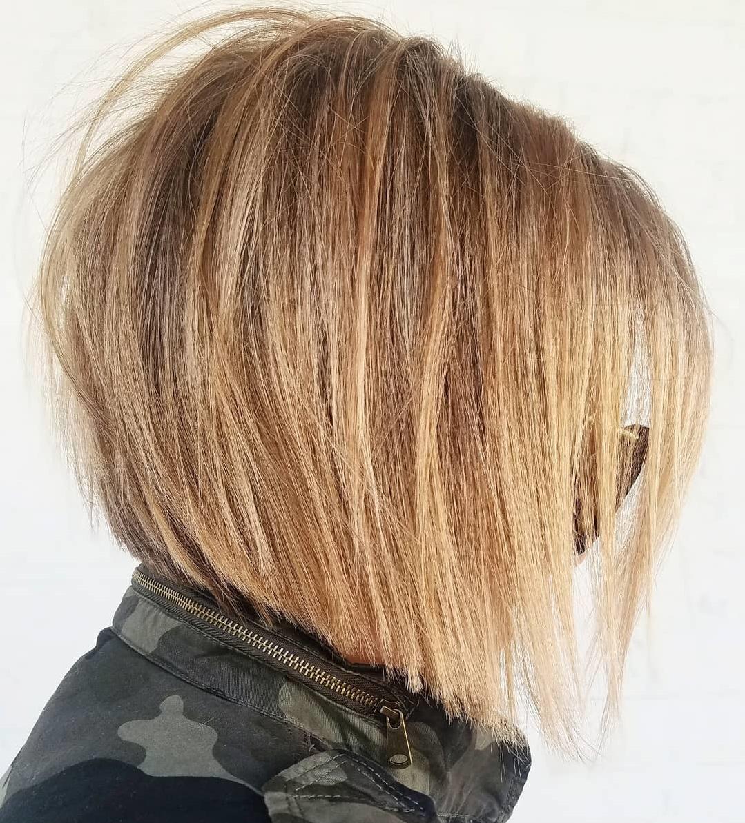 Tousled Angled Caramel Blonde Bob
