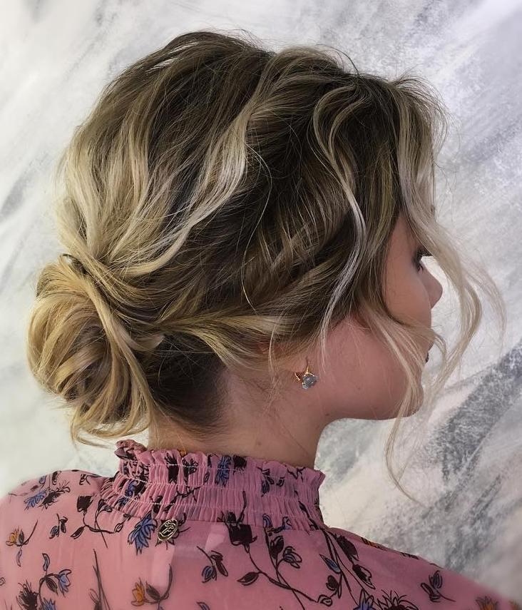 Wavy Bun Updo For Short Layered Hair