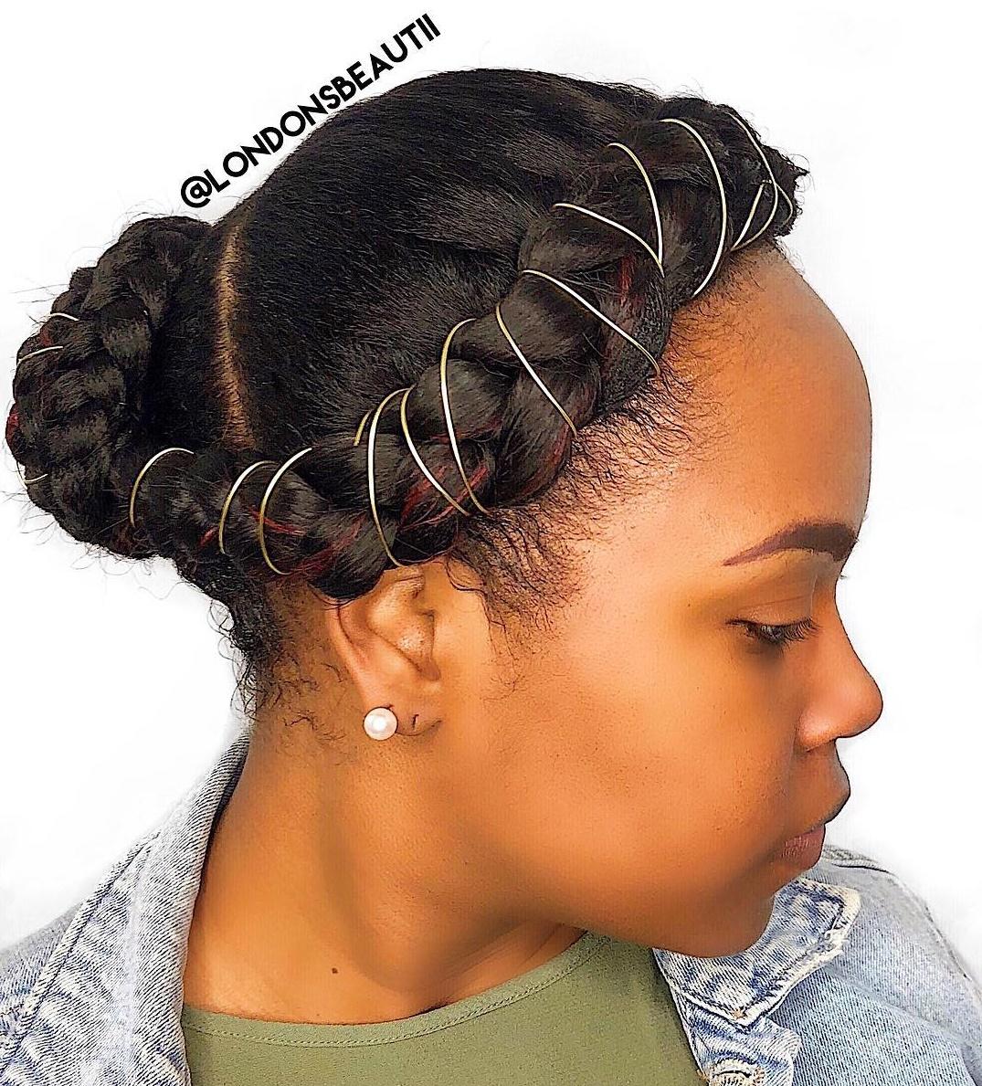 Halo Braid-To-Bun Updo For Black Hair