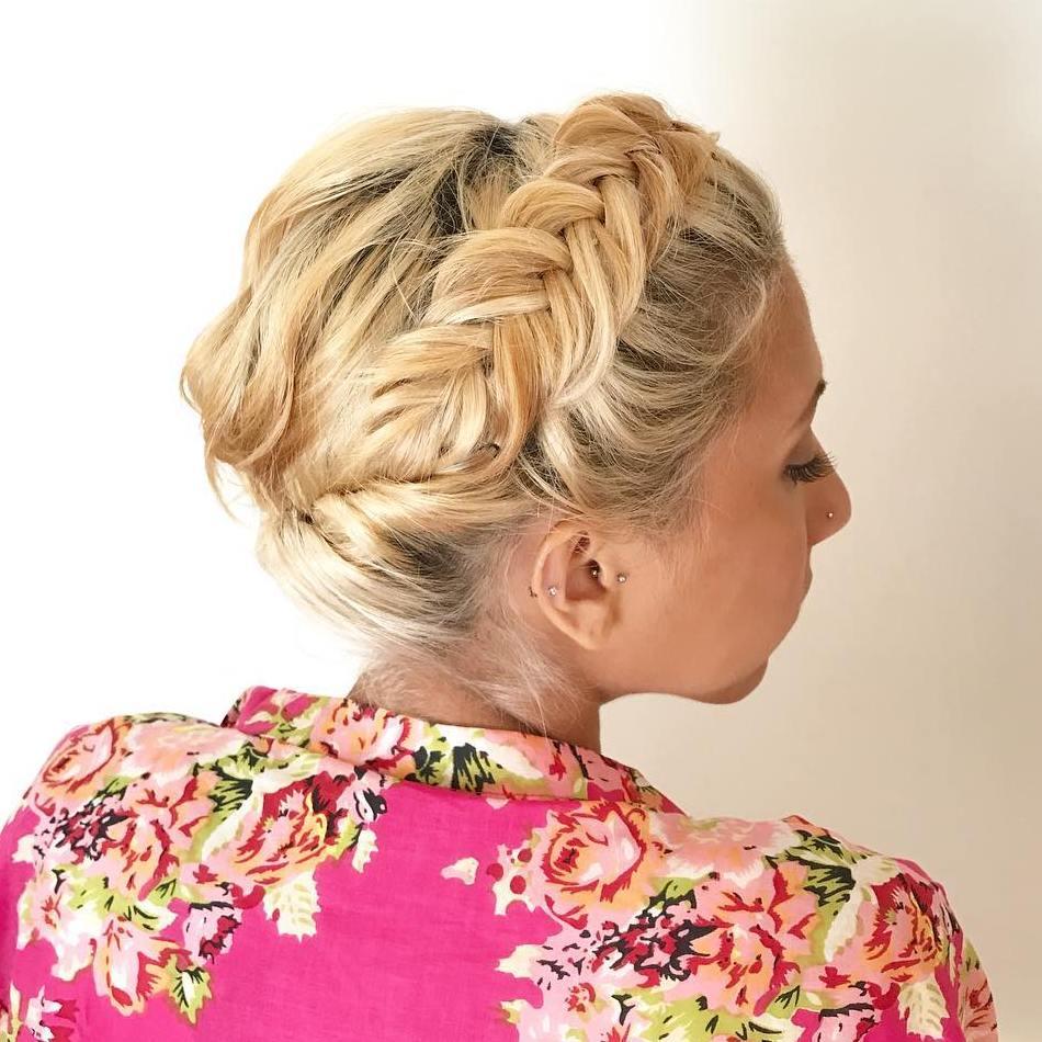 Blonde Updo With Dutch Braid