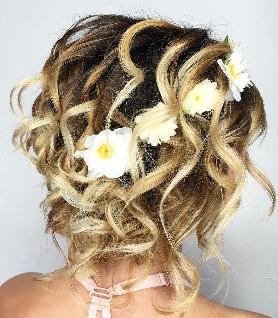Layered Curly Updo With Flowers